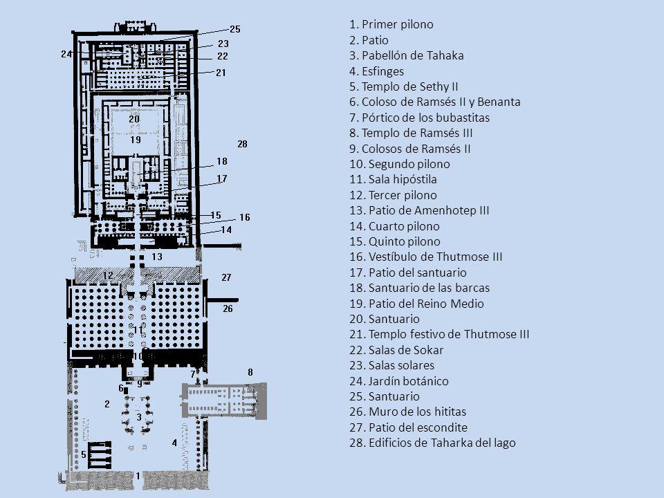 1. Primer pilono 2. Patio 3. Pabellón de Tahaka 4. Esfinges 5. Templo de Sethy II 6. Coloso de Ramsés II y Benanta 7. Pórtico de los bubastitas 8. Tem