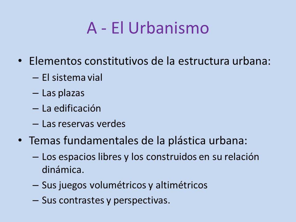 A - El Urbanismo Elementos constitutivos de la estructura urbana: – El sistema vial – Las plazas – La edificación – Las reservas verdes Temas fundamen