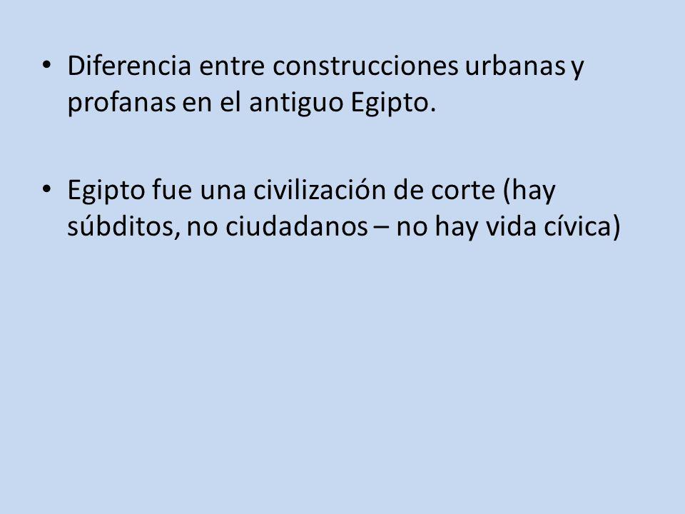 Diferencia entre construcciones urbanas y profanas en el antiguo Egipto. Egipto fue una civilización de corte (hay súbditos, no ciudadanos – no hay vi