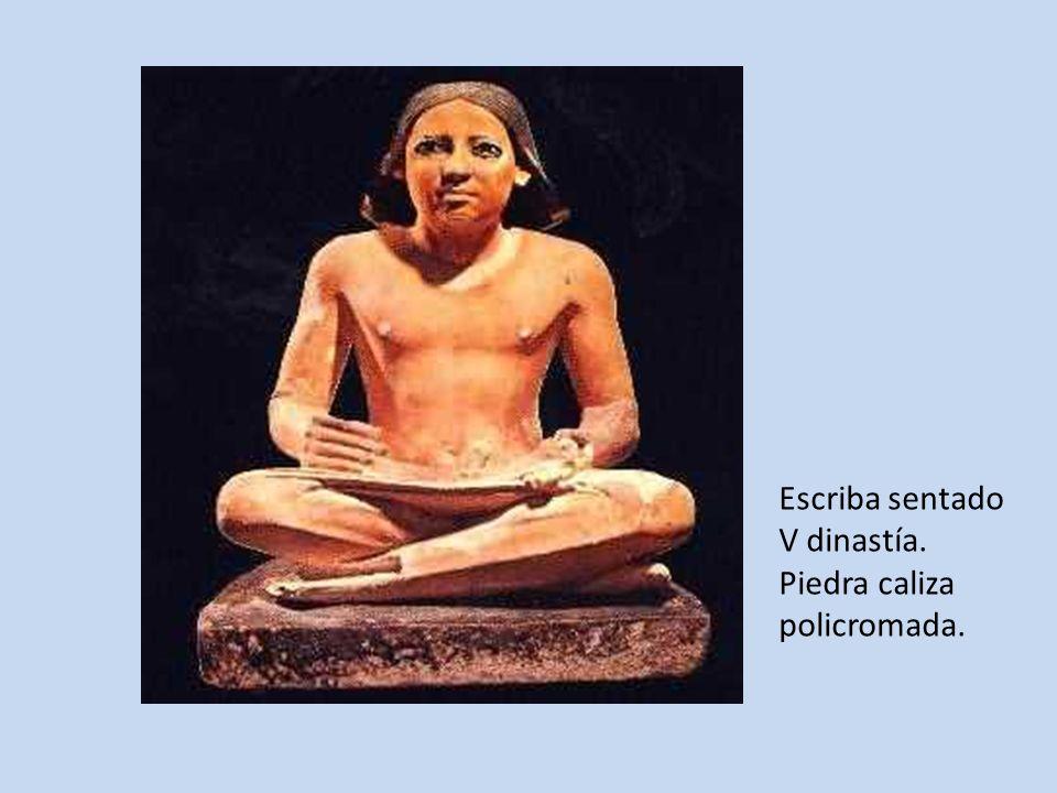 Escriba sentado V dinastía. Piedra caliza policromada.