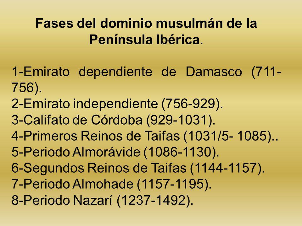 Fases del dominio musulmán de la Península Ibérica. 1-Emirato dependiente de Damasco (711- 756). 2-Emirato independiente (756-929). 3-Califato de Córd