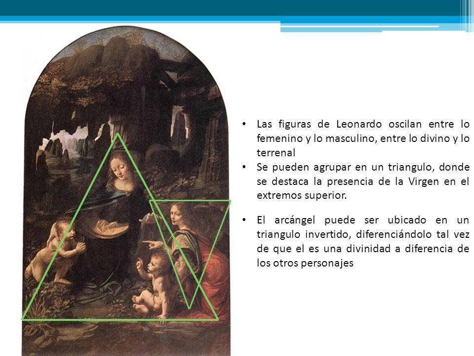 Las figuras de Leonardo oscilan entre lo femenino y lo masculino, entre lo divino y lo terrenal Se pueden agrupar en un triangulo, donde se destaca la
