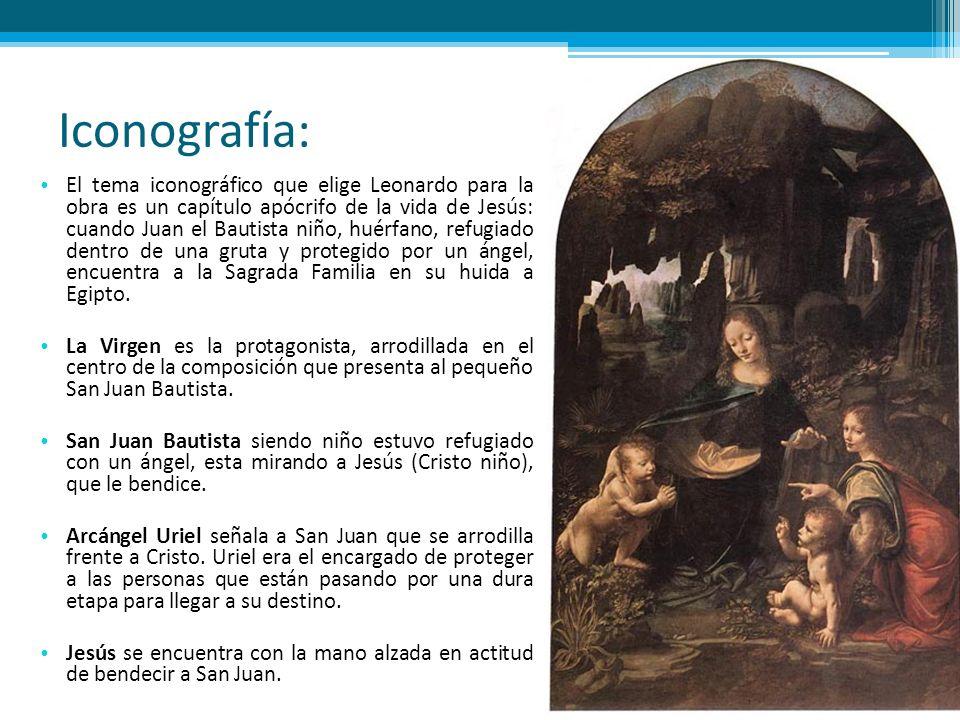 Iconografía: El tema iconográfico que elige Leonardo para la obra es un capítulo apócrifo de la vida de Jesús: cuando Juan el Bautista niño, huérfano,
