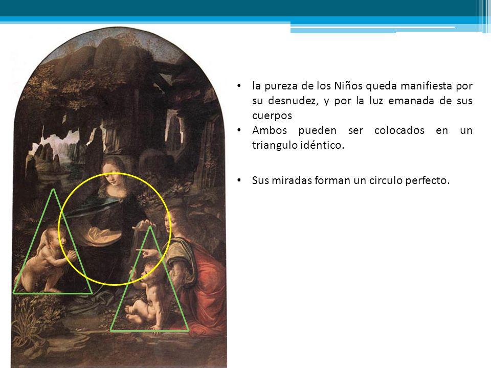Las figuras de Leonardo oscilan entre lo femenino y lo masculino, entre lo divino y lo terrenal Se pueden agrupar en un triangulo, donde se destaca la presencia de la Virgen en el extremos superior.