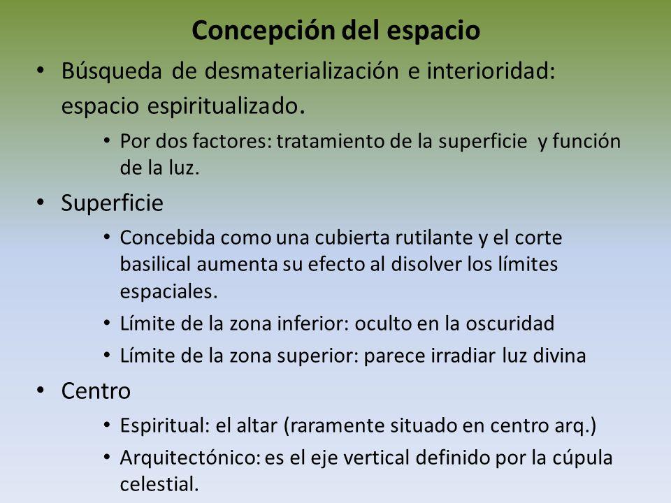 Concepción del espacio Búsqueda de desmaterialización e interioridad: espacio espiritualizado. Por dos factores: tratamiento de la superficie y funció