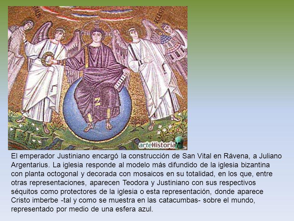 El emperador Justiniano encargó la construcción de San Vital en Rávena, a Juliano Argentarius. La iglesia responde al modelo más difundido de la igles