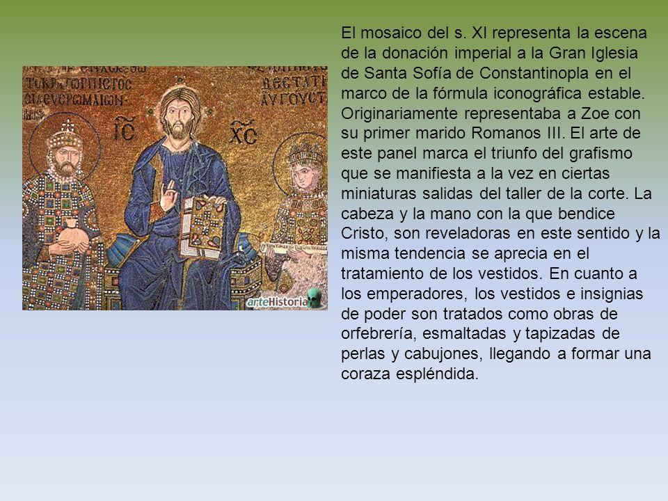 El mosaico del s. XI representa la escena de la donación imperial a la Gran Iglesia de Santa Sofía de Constantinopla en el marco de la fórmula iconogr