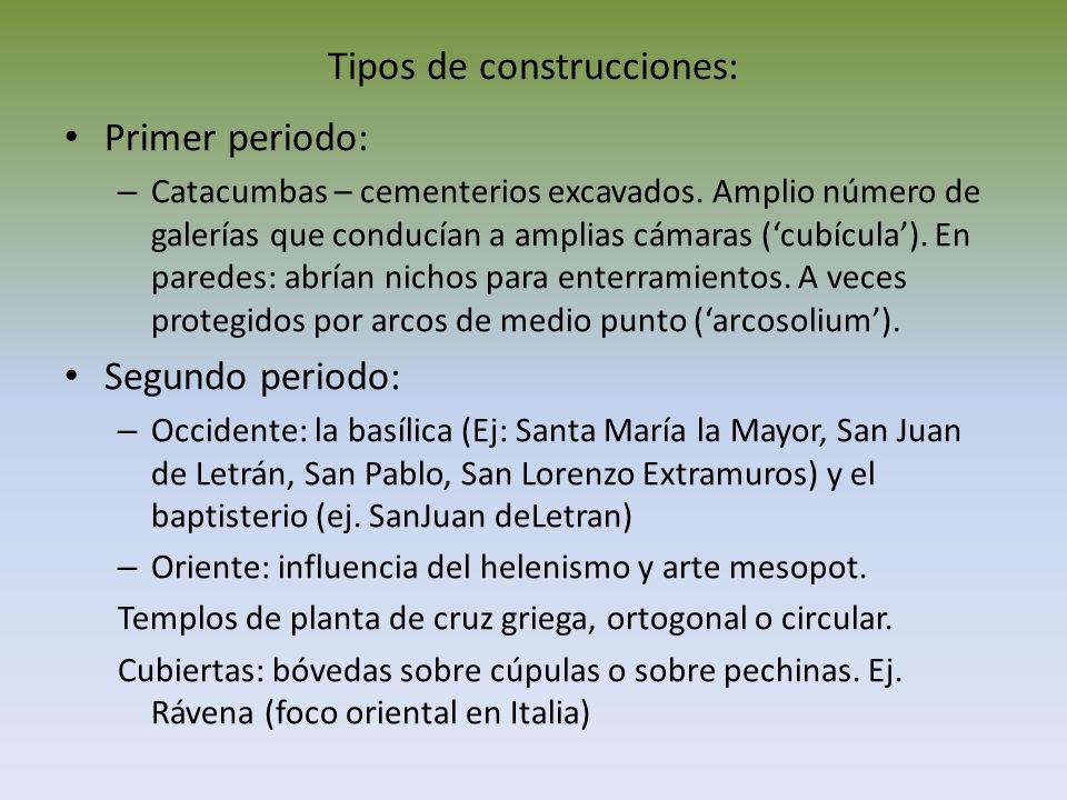 Tipos de construcciones: Primer periodo: – Catacumbas – cementerios excavados. Amplio número de galerías que conducían a amplias cámaras (cubícula). E