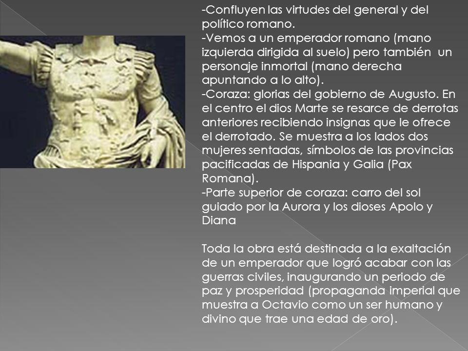 -Vemos a un emperador romano (mano izquierda dirigida al suelo) pero también un personaje inmortal (mano derecha apuntando a lo alto). -Coraza: gloria