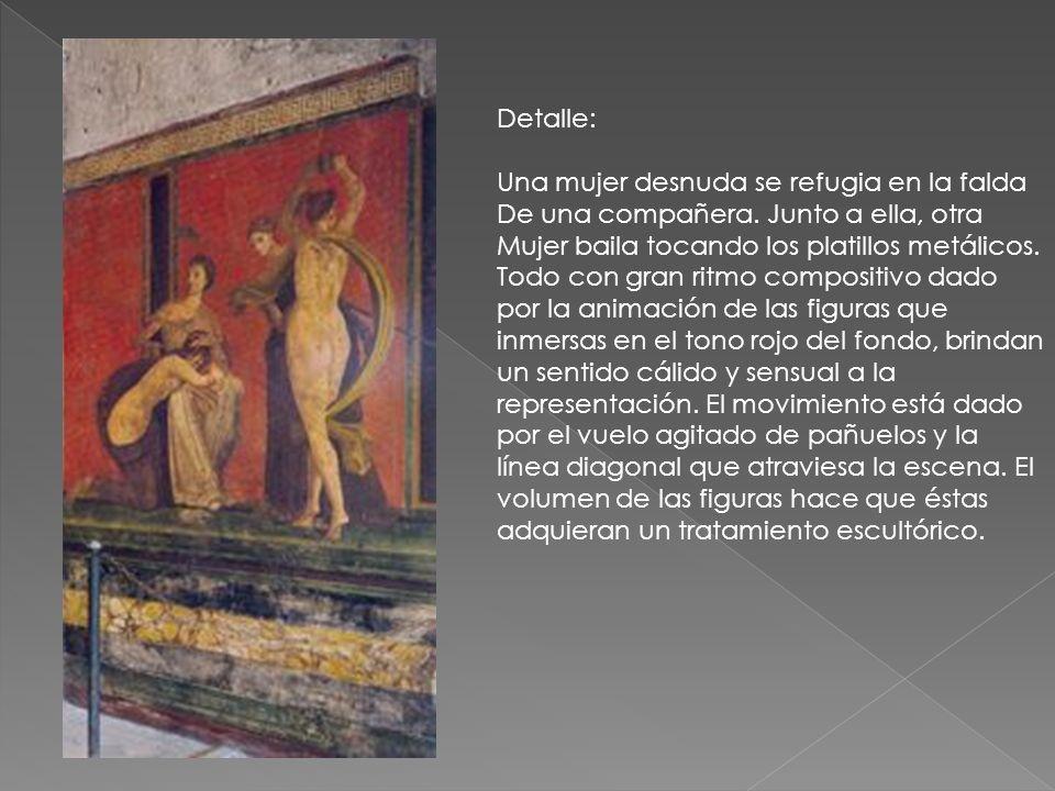 Detalle: Una mujer desnuda se refugia en la falda De una compañera. Junto a ella, otra Mujer baila tocando los platillos metálicos. Todo con gran ritm