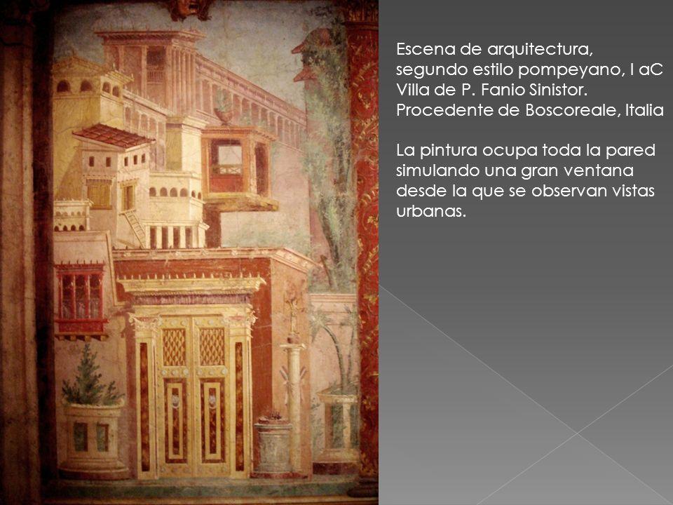 Escena de arquitectura, segundo estilo pompeyano, I aC Villa de P. Fanio Sinistor. Procedente de Boscoreale, Italia La pintura ocupa toda la pared sim