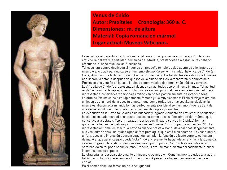 La escultura representa a la diosa griega del amor (principalmente en su acepción del amor erótico), la belleza y la fertilidad femenina de Afrodita,