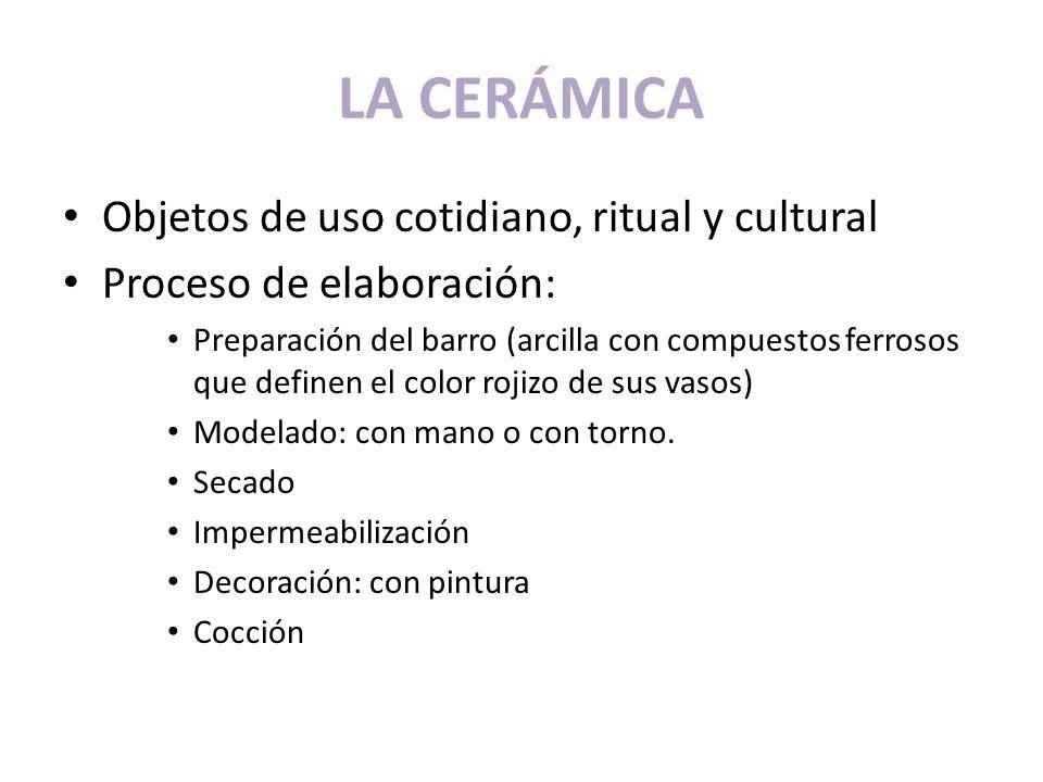 LA CERÁMICA Objetos de uso cotidiano, ritual y cultural Proceso de elaboración: Preparación del barro (arcilla con compuestos ferrosos que definen el