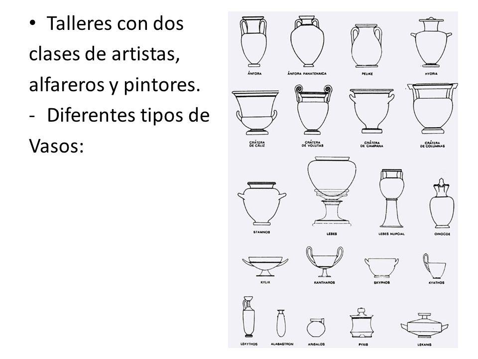Talleres con dos clases de artistas, alfareros y pintores. -Diferentes tipos de Vasos: