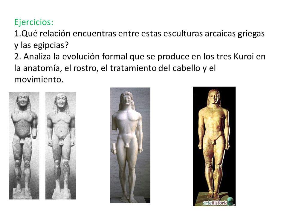 Ejercicios: 1.Qué relación encuentras entre estas esculturas arcaicas griegas y las egipcias? 2. Analiza la evolución formal que se produce en los tre
