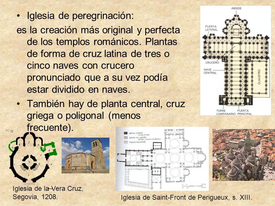 Iglesia de peregrinación: es la creación más original y perfecta de los templos románicos. Plantas de forma de cruz latina de tres o cinco naves con c