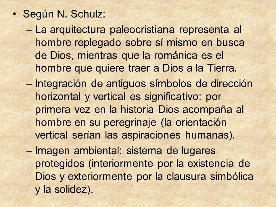 Según N. Schulz: –La arquitectura paleocristiana representa al hombre replegado sobre sí mismo en busca de Dios, mientras que la románica es el hombre