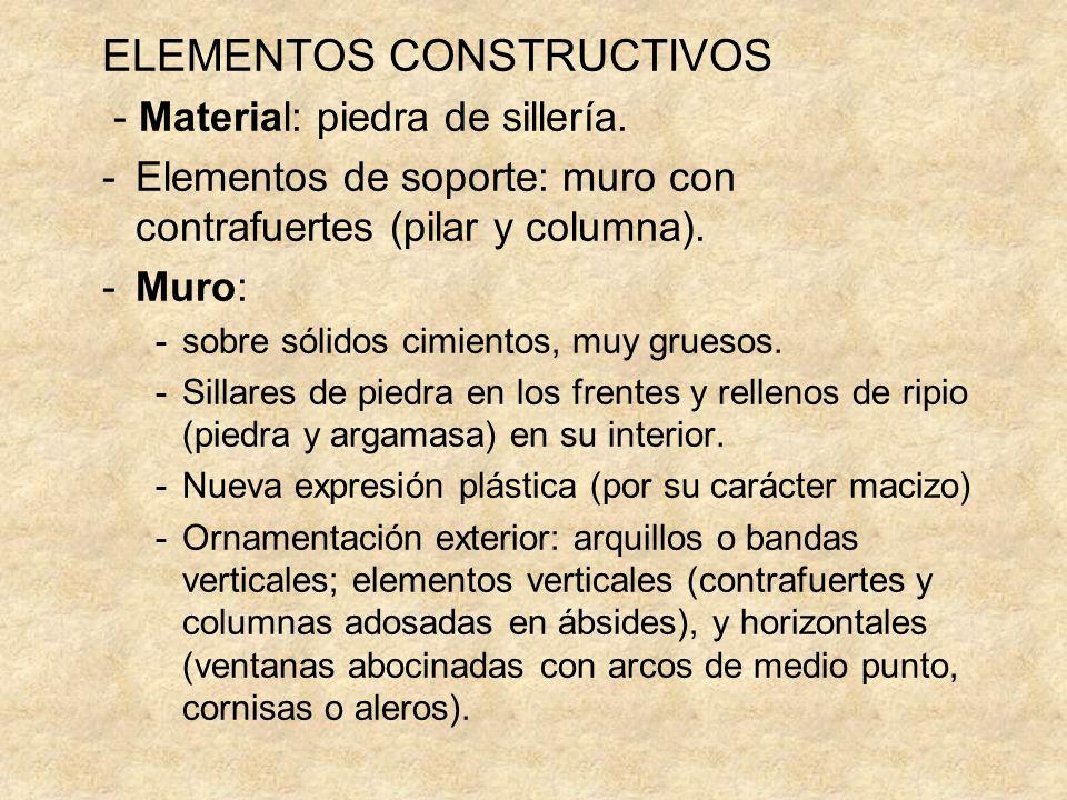 ELEMENTOS CONSTRUCTIVOS - Material: piedra de sillería. -Elementos de soporte: muro con contrafuertes (pilar y columna). -Muro: -sobre sólidos cimient