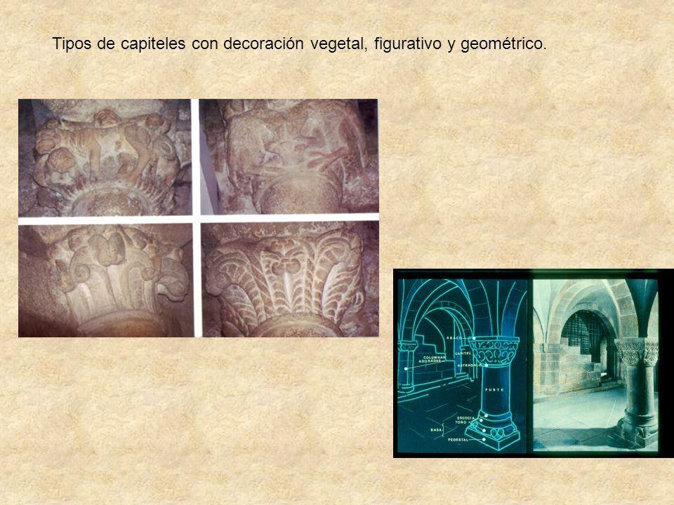Tipos de capiteles con decoración vegetal, figurativo y geométrico.