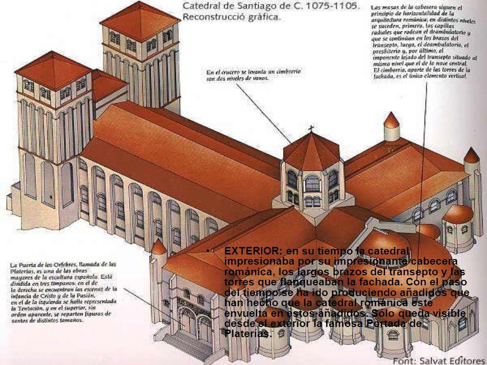 EXTERIOR: en su tiempo la catedral impresionaba por su impresionante cabecera románica, los largos brazos del transepto y las torres que flanqueaban l