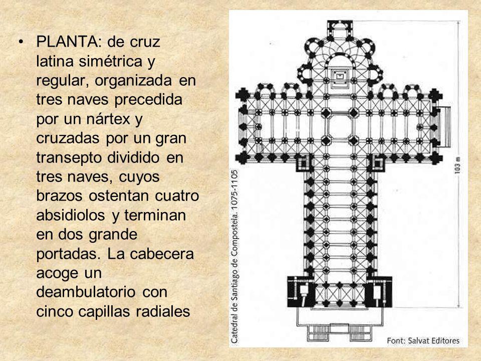 PLANTA: de cruz latina simétrica y regular, organizada en tres naves precedida por un nártex y cruzadas por un gran transepto dividido en tres naves,