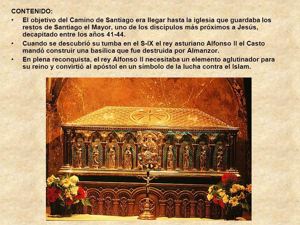 CONTENIDO: El objetivo del Camino de Santiago era llegar hasta la iglesia que guardaba los restos de Santiago el Mayor, uno de los discípulos más próx