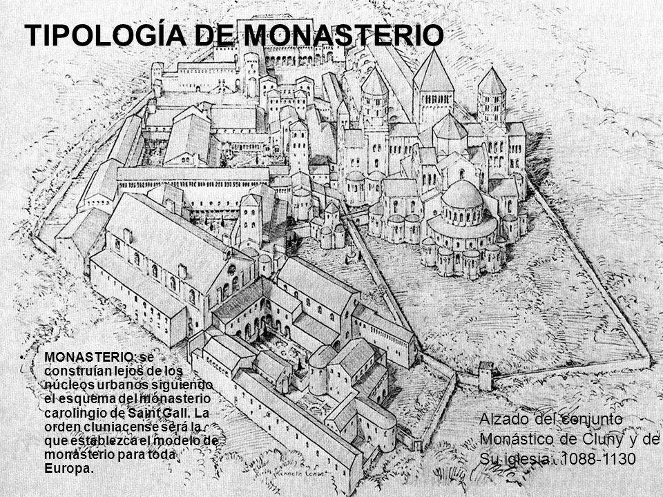 TIPOLOGÍA DE MONASTERIO MONASTERIO: se construían lejos de los núcleos urbanos siguiendo el esquema del monasterio carolingio de Saint Gall. La orden