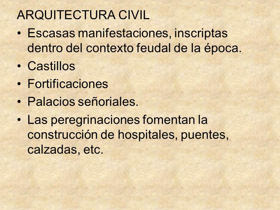 ARQUITECTURA CIVIL Escasas manifestaciones, inscriptas dentro del contexto feudal de la época. Castillos Fortificaciones Palacios señoriales. Las pere