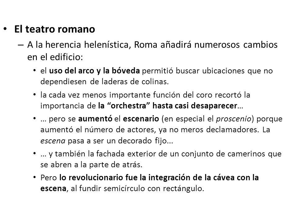 El teatro romano – A la herencia helenística, Roma añadirá numerosos cambios en el edificio: el uso del arco y la bóveda permitió buscar ubicaciones q