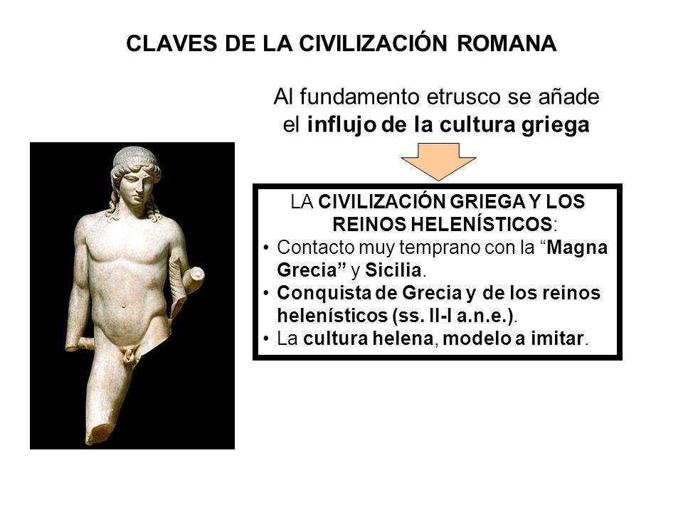 CLAVES DE LA CIVILIZACIÓN ROMANA LA CIVILIZACIÓN GRIEGA Y LOS REINOS HELENÍSTICOS: Contacto muy temprano con la Magna Grecia y Sicilia. Conquista de G