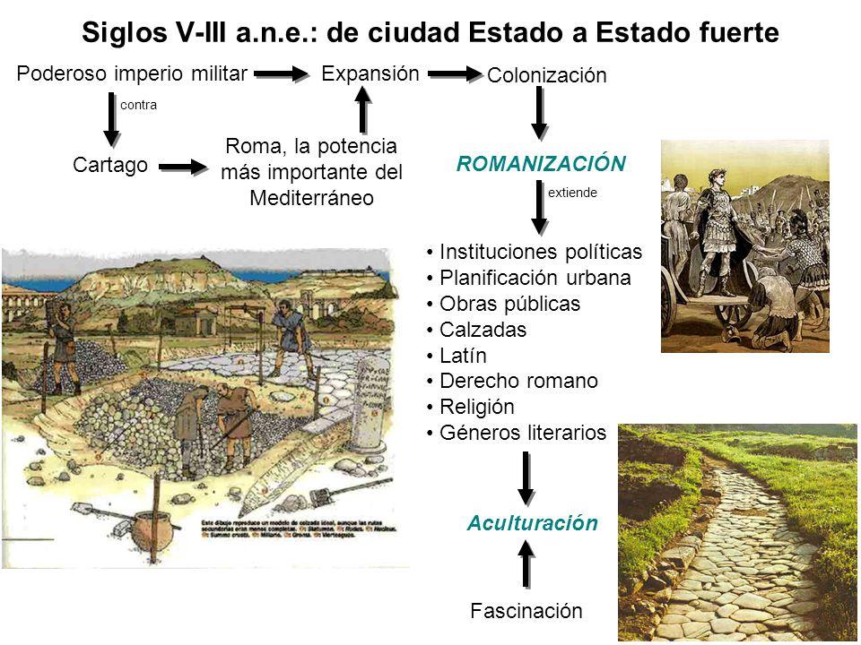 Instituciones políticas Planificación urbana Obras públicas Calzadas Latín Derecho romano Religión Géneros literarios Siglos V-III a.n.e.: de ciudad E