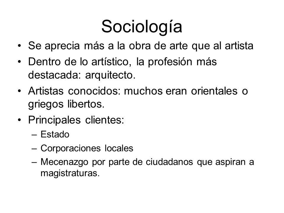 Sociología Se aprecia más a la obra de arte que al artista Dentro de lo artístico, la profesión más destacada: arquitecto. Artistas conocidos: muchos