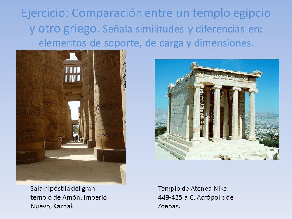 Ejercicio: Comparación entre un templo egipcio y otro griego. Señala similitudes y diferencias en: elementos de soporte, de carga y dimensiones. Templ