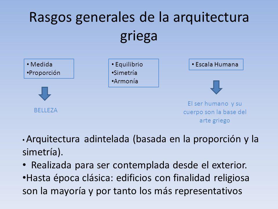 Rasgos generales de la arquitectura griega Medida Proporción Equilibrio Simetría Armonía Escala Humana BELLEZA El ser humano y su cuerpo son la base d