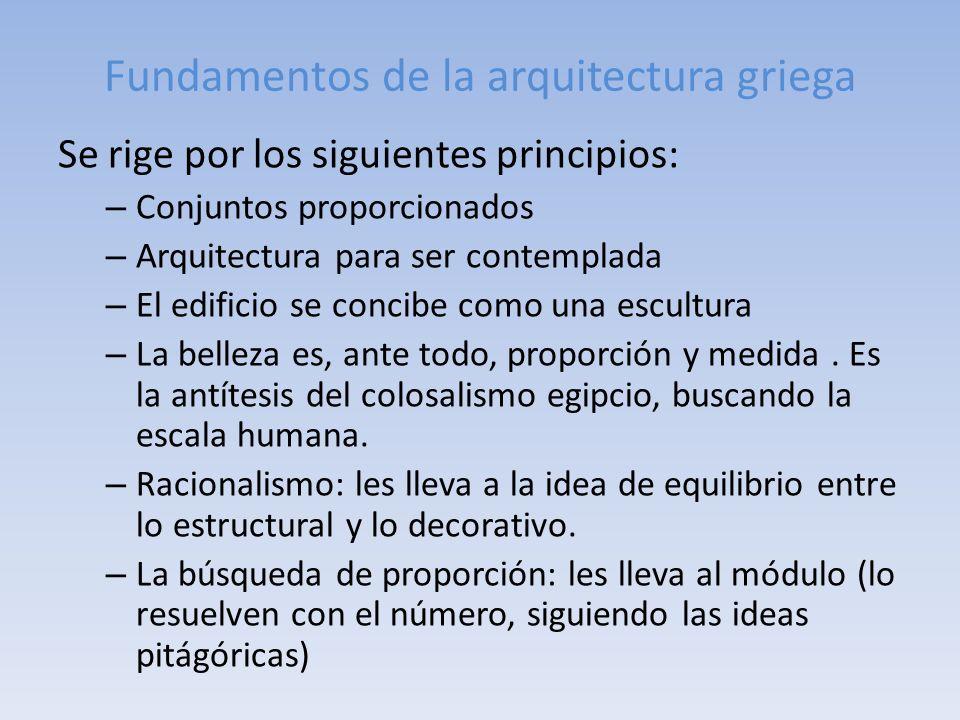 Fundamentos de la arquitectura griega Se rige por los siguientes principios: – Conjuntos proporcionados – Arquitectura para ser contemplada – El edifi