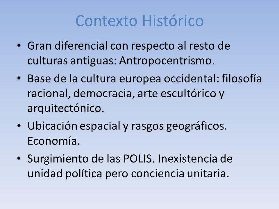 Contexto Histórico Gran diferencial con respecto al resto de culturas antiguas: Antropocentrismo. Base de la cultura europea occidental: filosofía rac