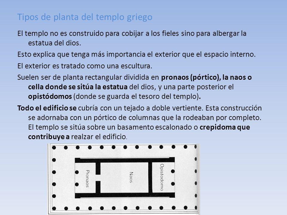 Tipos de planta del templo griego El templo no es construido para cobijar a los fieles sino para albergar la estatua del dios. Esto explica que tenga
