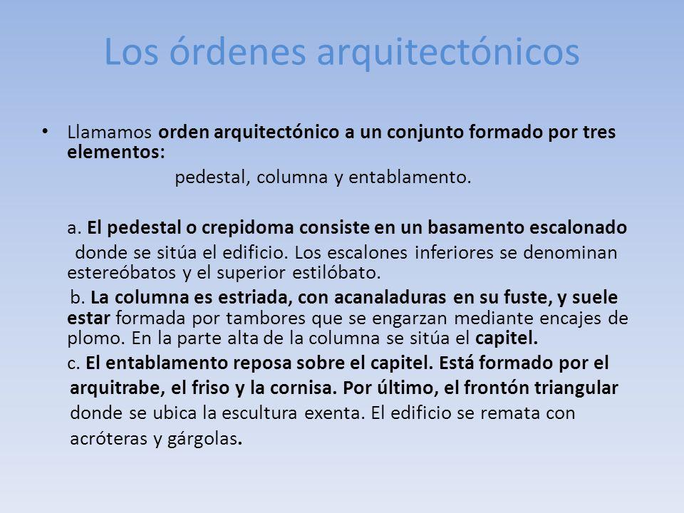 Los órdenes arquitectónicos Llamamos orden arquitectónico a un conjunto formado por tres elementos: pedestal, columna y entablamento. a. El pedestal o
