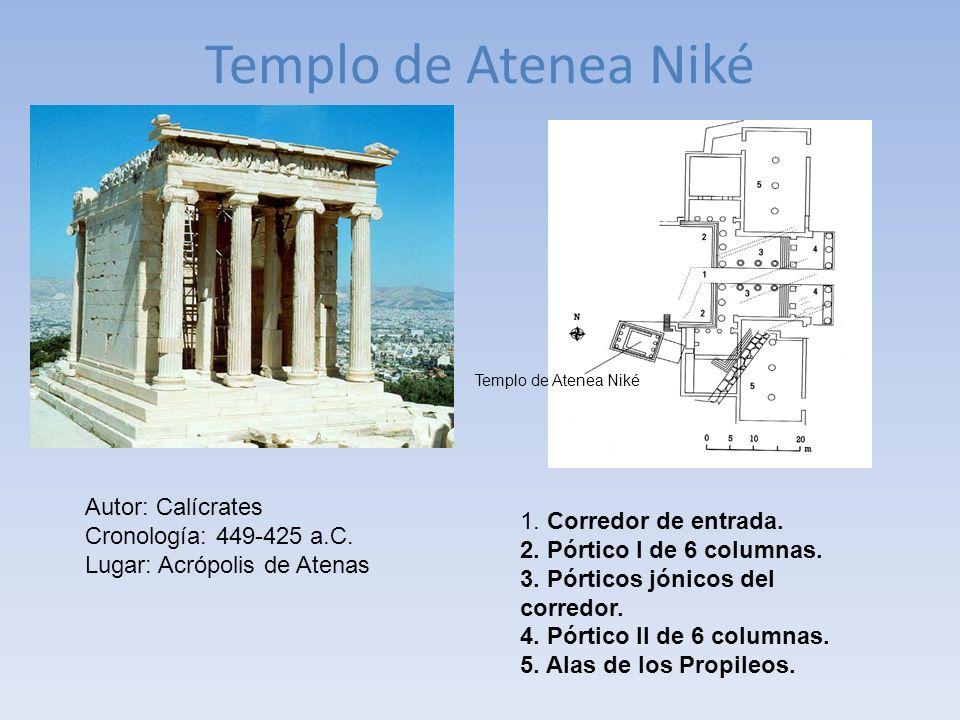 Templo de Atenea Niké 1. Corredor de entrada. 2. Pórtico I de 6 columnas. 3. Pórticos jónicos del corredor. 4. Pórtico II de 6 columnas. 5. Alas de lo