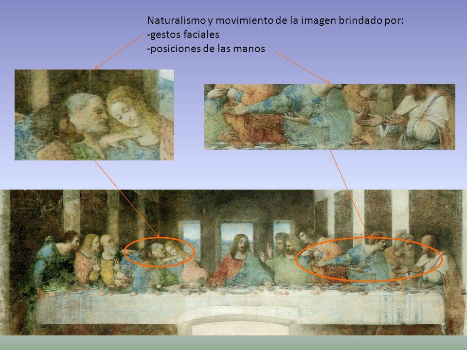 Formas geométricas: -Rectángulo horizontal dominante reforzado por la mesa -Rectángulos perspectivados en las paredes -Rectángulos de las ventanas Punto de fuga de la perspectiva central Eje de simetría Grupos de tres.