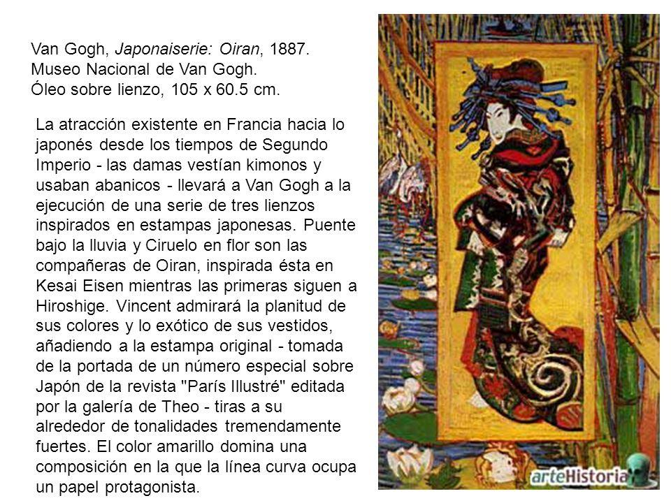 Van Gogh, Japonaiserie: Oiran, 1887. Museo Nacional de Van Gogh. Óleo sobre lienzo, 105 x 60.5 cm. La atracción existente en Francia hacia lo japonés