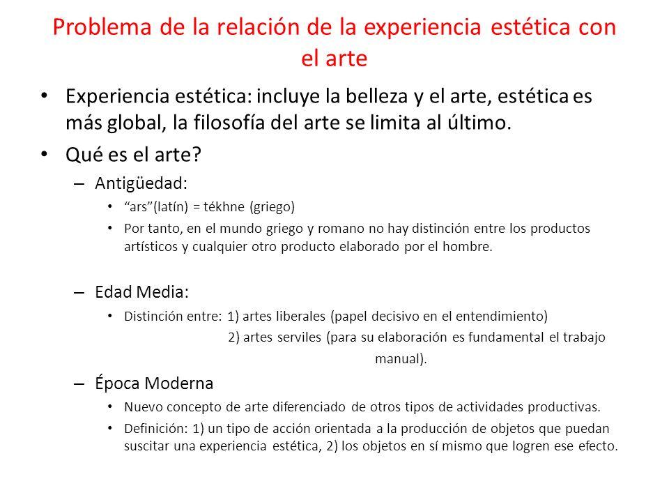 Problema de la relación de la experiencia estética con el arte Experiencia estética: incluye la belleza y el arte, estética es más global, la filosofí
