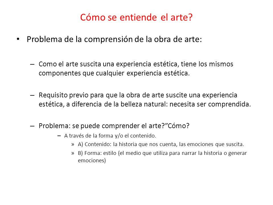 Cómo se entiende el arte? Problema de la comprensión de la obra de arte: – Como el arte suscita una experiencia estética, tiene los mismos componentes