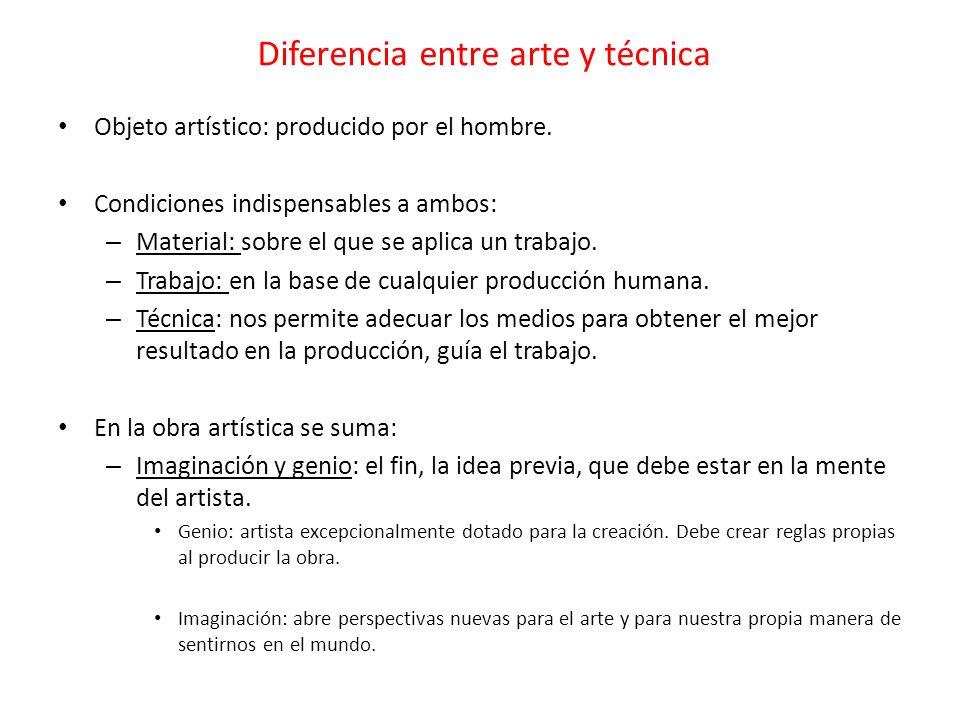 Diferencia entre arte y técnica Objeto artístico: producido por el hombre. Condiciones indispensables a ambos: – Material: sobre el que se aplica un t