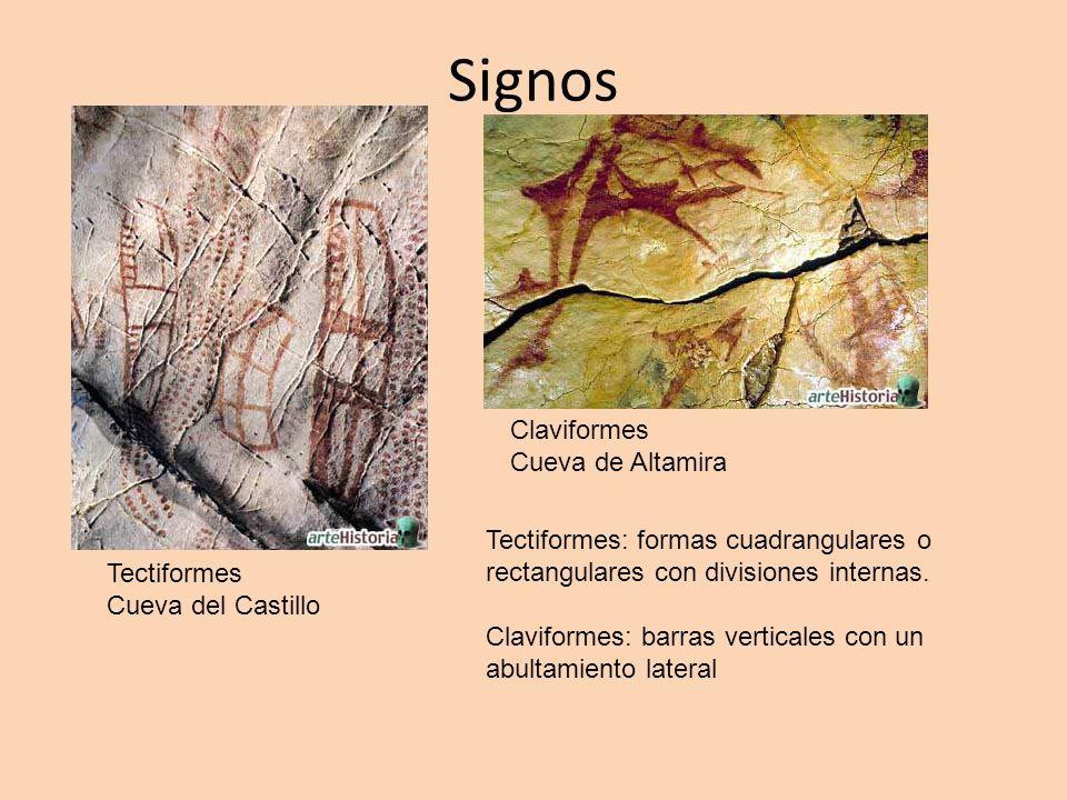 Signos Tectiformes Cueva del Castillo Claviformes Cueva de Altamira Tectiformes: formas cuadrangulares o rectangulares con divisiones internas. Clavif