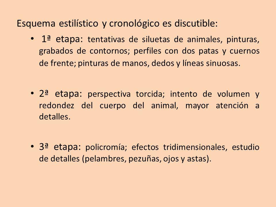 Esquema estilístico y cronológico es discutible: 1ª etapa: tentativas de siluetas de animales, pinturas, grabados de contornos; perfiles con dos patas