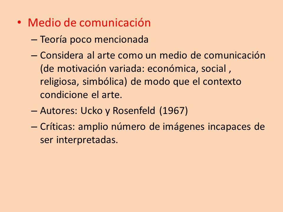 Medio de comunicación – Teoría poco mencionada – Considera al arte como un medio de comunicación (de motivación variada: económica, social, religiosa,