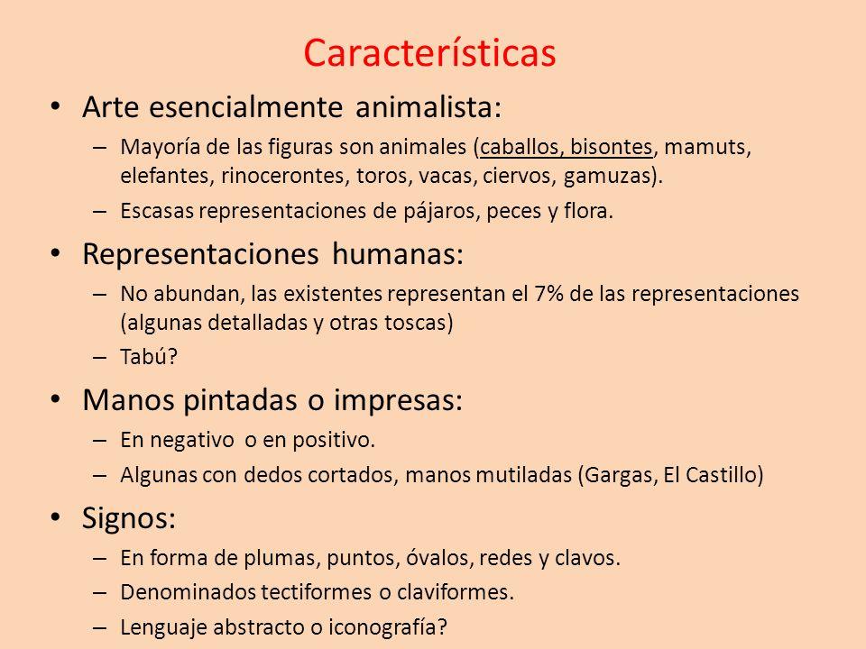 Características Arte esencialmente animalista: – Mayoría de las figuras son animales (caballos, bisontes, mamuts, elefantes, rinocerontes, toros, vaca