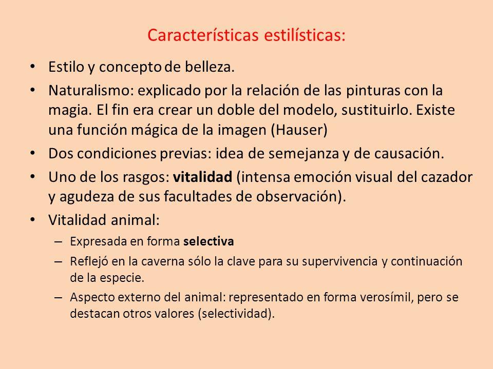 Características estilísticas: Realismo y naturalismo se encuentran combinados con la abstracción y geometrización: la visión sintética (se refleja lo que se conoce, no lo que se ve).