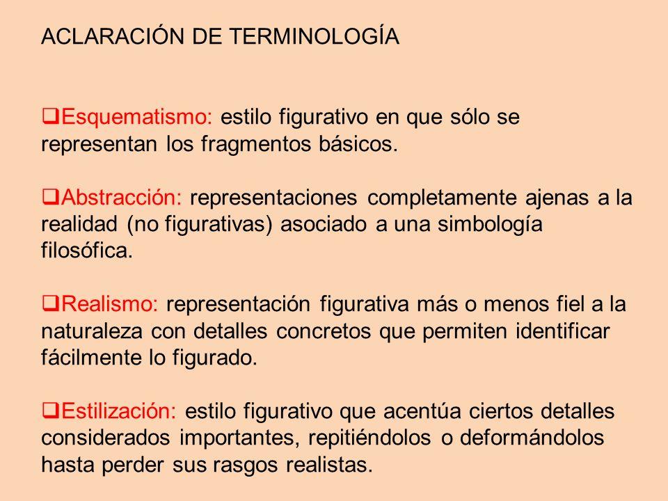ACLARACIÓN DE TERMINOLOGÍA Esquematismo: estilo figurativo en que sólo se representan los fragmentos básicos. Abstracción: representaciones completame